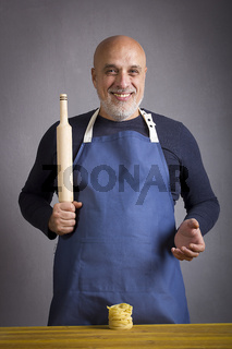Man with rolling pin