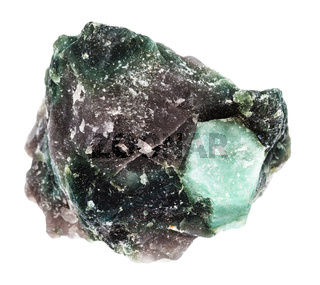 rough crystal of Beryl gemstone in rock isolated