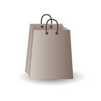 Party festive gift bag of white paper isolated on a white background