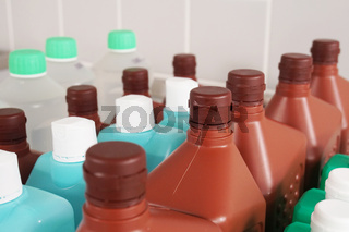 bottles with cleaning and disinfection solution