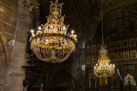 Old chandelier in Bellapais Abbey monastery - Kyrenia (Girne) Northern Cyprus