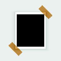 blank retro polaroid photo frame over white