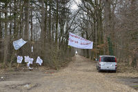 Protest against the clearing of the Hambacher Forst at the edge of the lignite surface mine of RWE