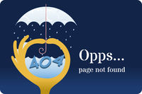 404 error page with mini storm in a hand metaphor.