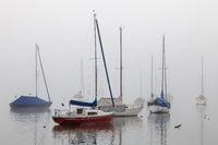 Sailing ships in Fog