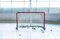 ice hockey ice rink and empty net