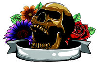 Skull. Hipster skull silhouette with mustache and arose in teeth with ribbon and bouquet of roses on a background.