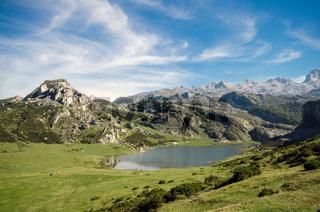 summer mountain landscape inLake Ercina, in Covadonga lakes, Asturias, Spain