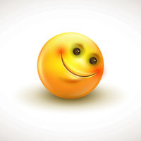 Cute smiling emoticon, emoji, smiley - vector illustration