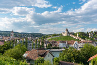 Cityscape of Schaffhausen with the fortress Munot