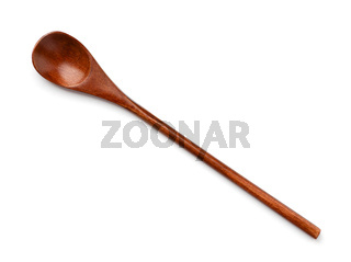 Top view of brown wooden spoon