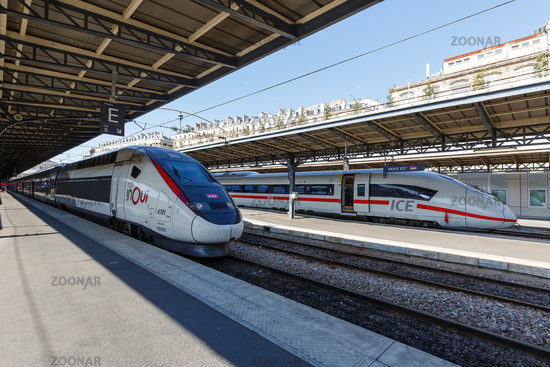 French TGV and German ICE high-speed train Paris Est railway station in France