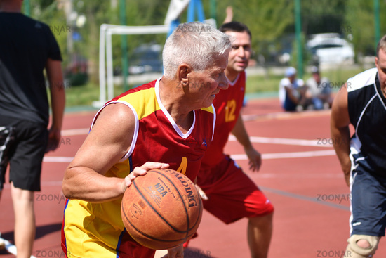 Orenburg, Russia - July 30, 2017 year: men play Street Basketball in the second round of the summer