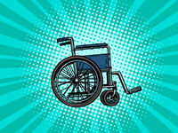 empty wheelchair. human health, rehabilitation and inclusion