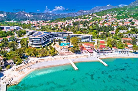Dubrovnik region waterfront in Mlini and Srebreno aerial view