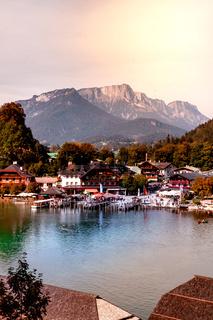Panorama view of Idyllic Konigssee, a beautiful alpine lake in Bavaria, Germany