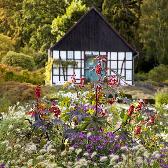 timpered house in the botanical garden, Bielefeld, North Rhine-Westphalia,Germany, Europe