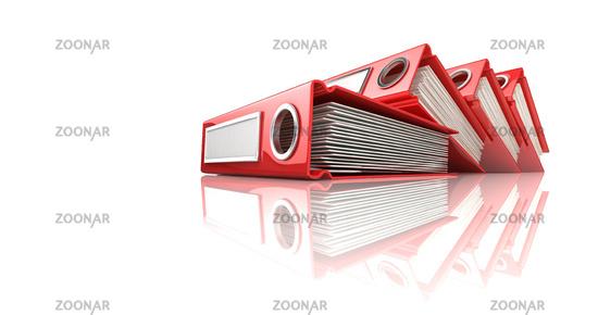 Red office binder folders. 3D
