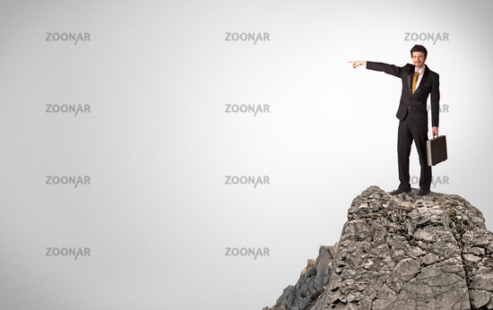 Business person on the top of the rock with copy space