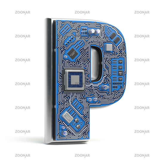 Letter P .  Alphabet in circuit board style. Digital hi-tech letter isolated on white.