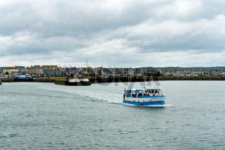 amphibious vehicle transporting tourists to Tatihou Island off the Normandy coast