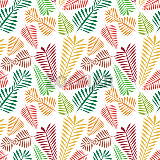 Seamless pattern of multicolored simple leaflets - golden autumn