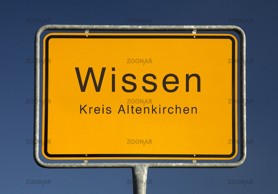 City limits sign, Wissen or knowledge, Altenkirchen, Rhineland-Palatinate, Germany, Europe