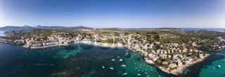 Aerial view, view of Santa Ponca and the marina, behind the Serra de Tramuntana, Mallorca, Balearic
