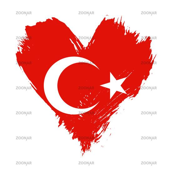 Brushstroke painted flag of Turkey