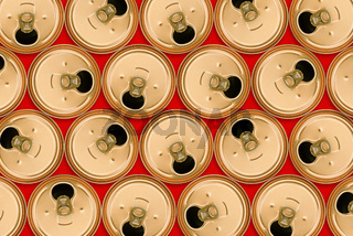 Top view of a bunch of aluminum cans for drinks. Used product for recycling. Open the jar