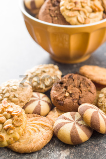 Different types of sweet cookies.