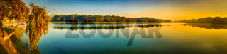 Sunrise over Xuan Huong Lake, Dalat, Vietnam. Panorama