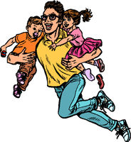dad superhero flies and carries his daughter and son in his arms. paternity