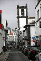 typical street in the historic old town overlooking the town hall tower