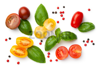 Cherry Tomatoes Composition Isolated On White Background