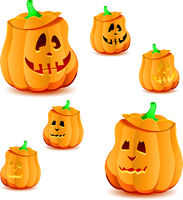 Set of halloween pumpkins with variations of illumination, part 19
