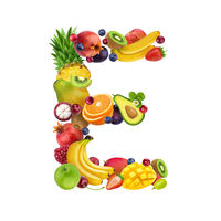 Letter E made of different fruits and berries, fruit font isolated on white background