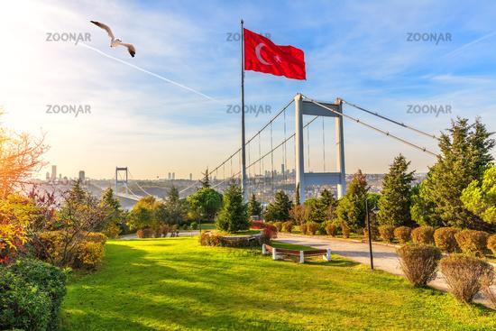 Otagtepe park and the Fatih Sultan Mehmet Bridge, Istanbul