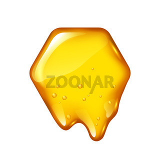 Yelllow honeycomb with flowing honey isolated, vector design for logo
