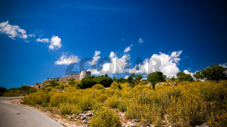 Landscape with the Lekuresi Castle and military bunkers, Saranda, Albania