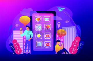 Social media and news tips, smart city concept illustration.