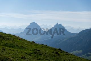 Kloster Einsiedeln, Schweiz, Alptal, Gross und Chli Mythen