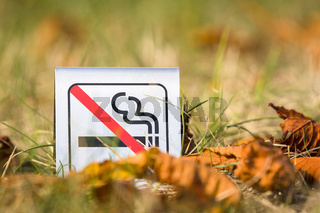 No smoking sign in the nature with autumn leaves
