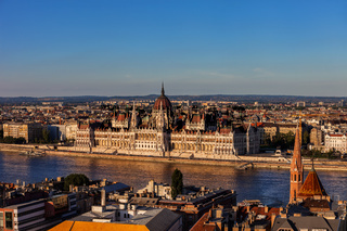 Hungarian Parliament In Budapest At Sunset