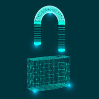 Symbol of the lock, consisting of connecting dots, lines and shapes. Cyber unlock security concept.