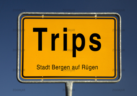 Town entrance sign of Trips, part of the city of Bergen on Ruegen, Mecklenburg-Vorpommern, Germany