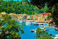Portofino town and harbour with boats