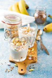 Breakfast of yoghurt, bananas and granola