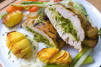 Turkey breast with herb-bear's garlic filling