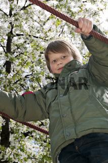 Blond boy at playground